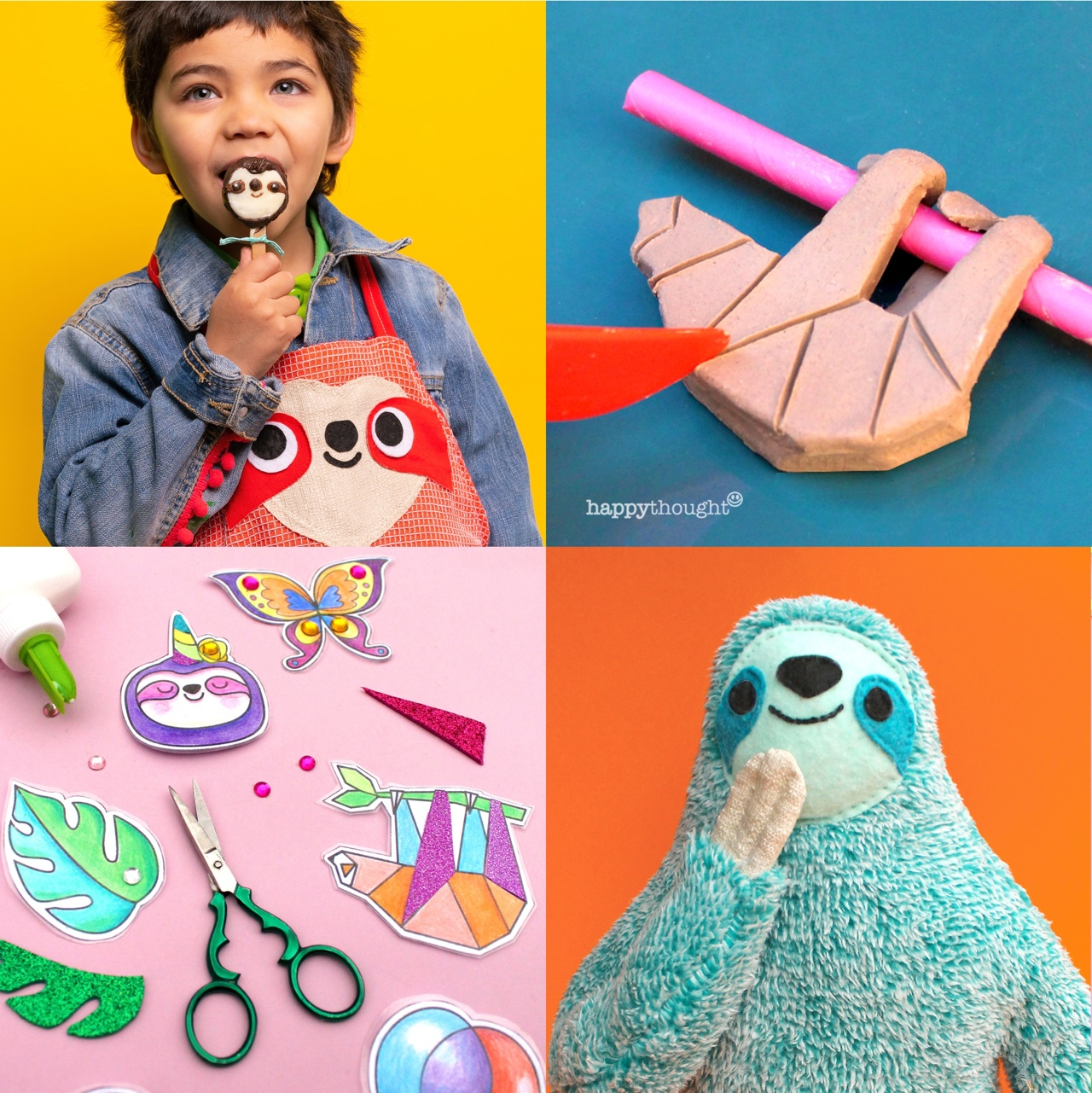 Get crafty with these sloth themed crafts! Sloth pops, sloth charm, diy pin brooches and sloth plush.