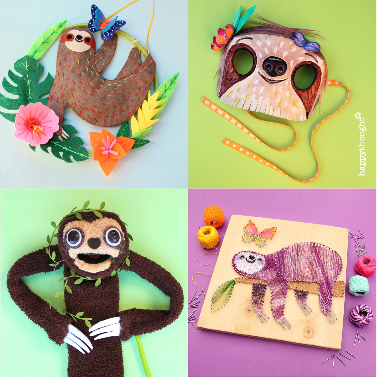 Sloths are so cute! Make a sloth wall art banner, a sloth mask, a sloth sock puppet and more!