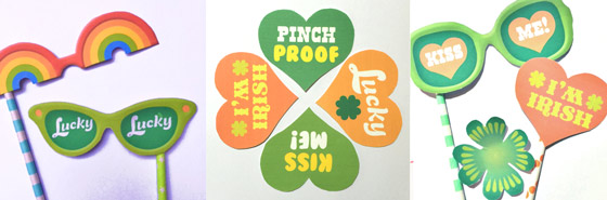St Patricks Day printable DIY party photo prop templates!