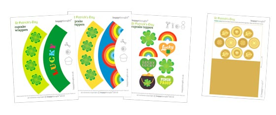 Easy St Patricks Day homemade party cupcake decoration templates!