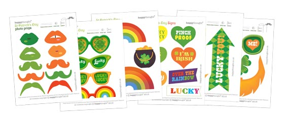 Lucky St Patricks Day printable party photo props and ideas!