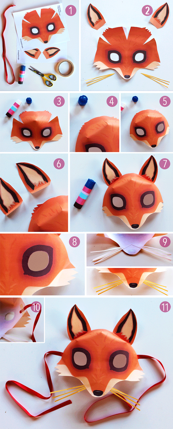 Step-by-step mask making - Free easy fox mask template to download!