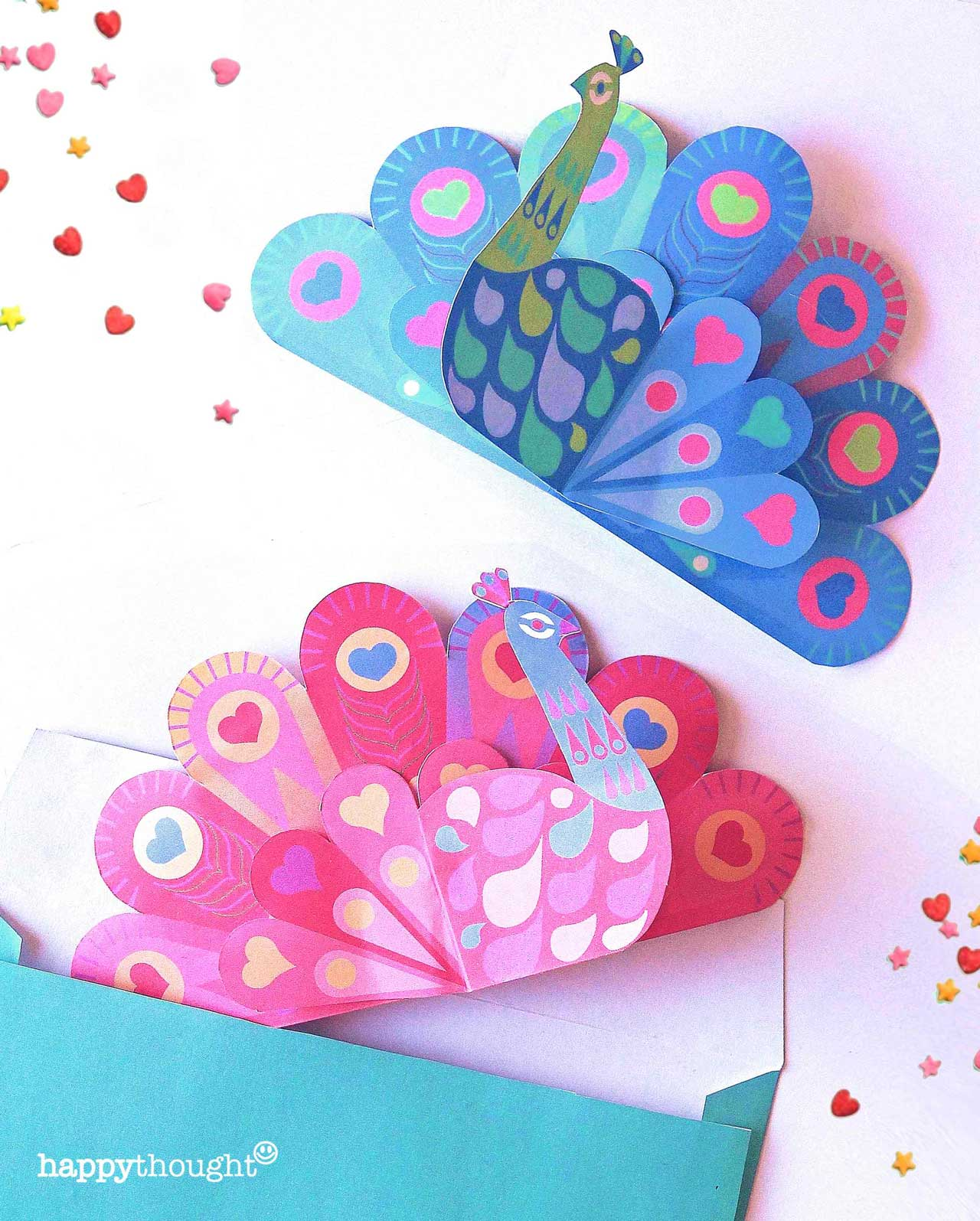 Easy DIY templates and patterns peacock card envelope hearts