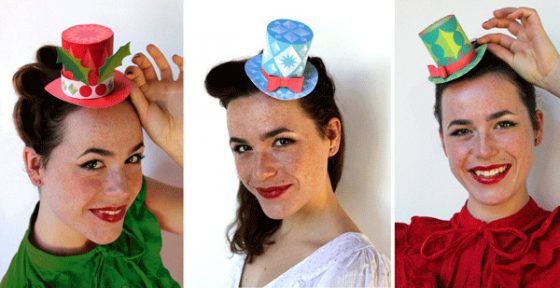Three cute mini paper top hat no-sew templates for holiday craft and festive fun!