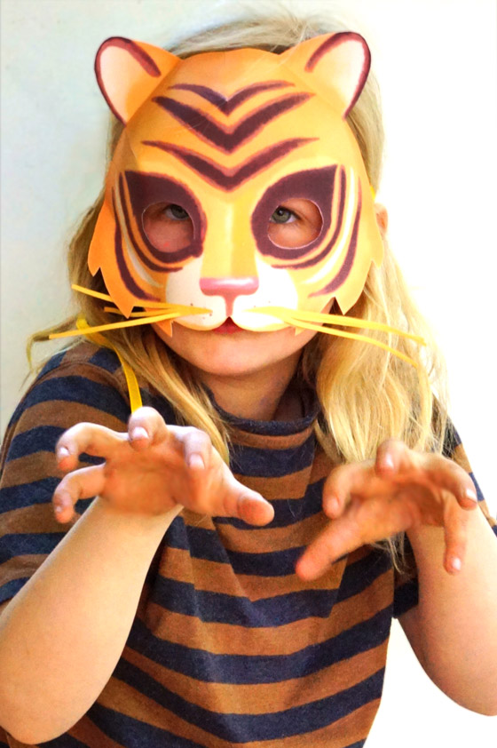 picture about Printable Tiger Pictures identified as Straightforward toward crank out printable tiger mask - Animal mask templates!