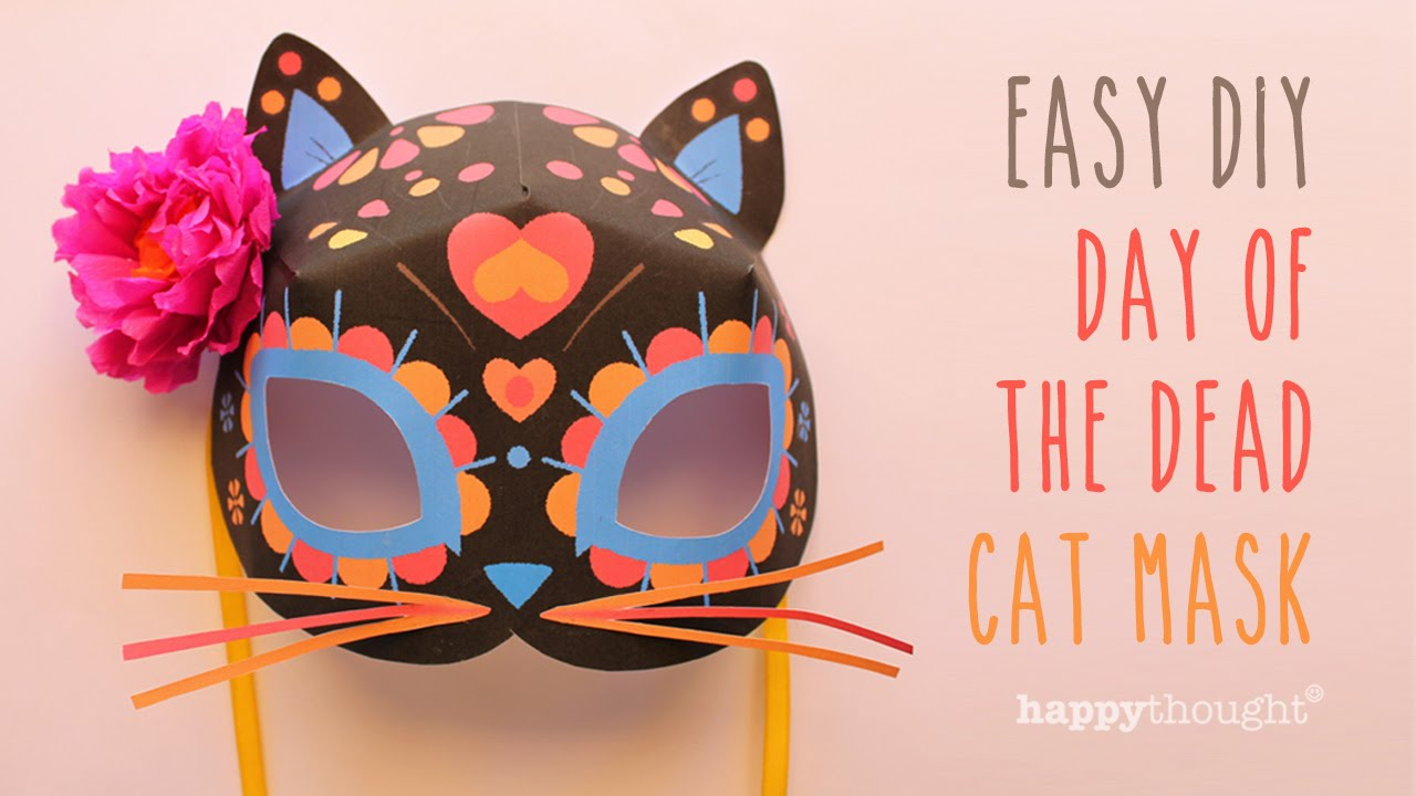 Cat calavera mask template for day of the dead dress up for Day of the dead skull mask template