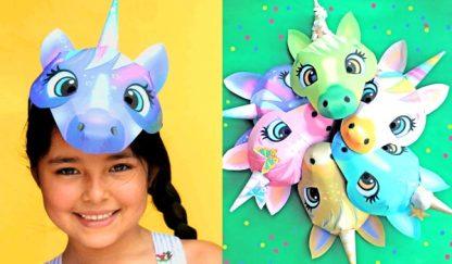 six unicorn mask templates to print and make