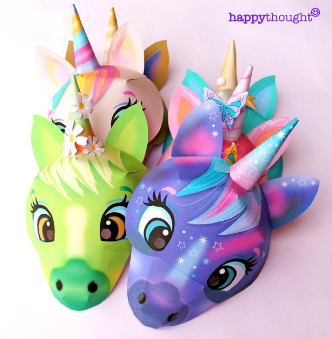 Colorful DIY Unicorn masks - choose your favorite!
