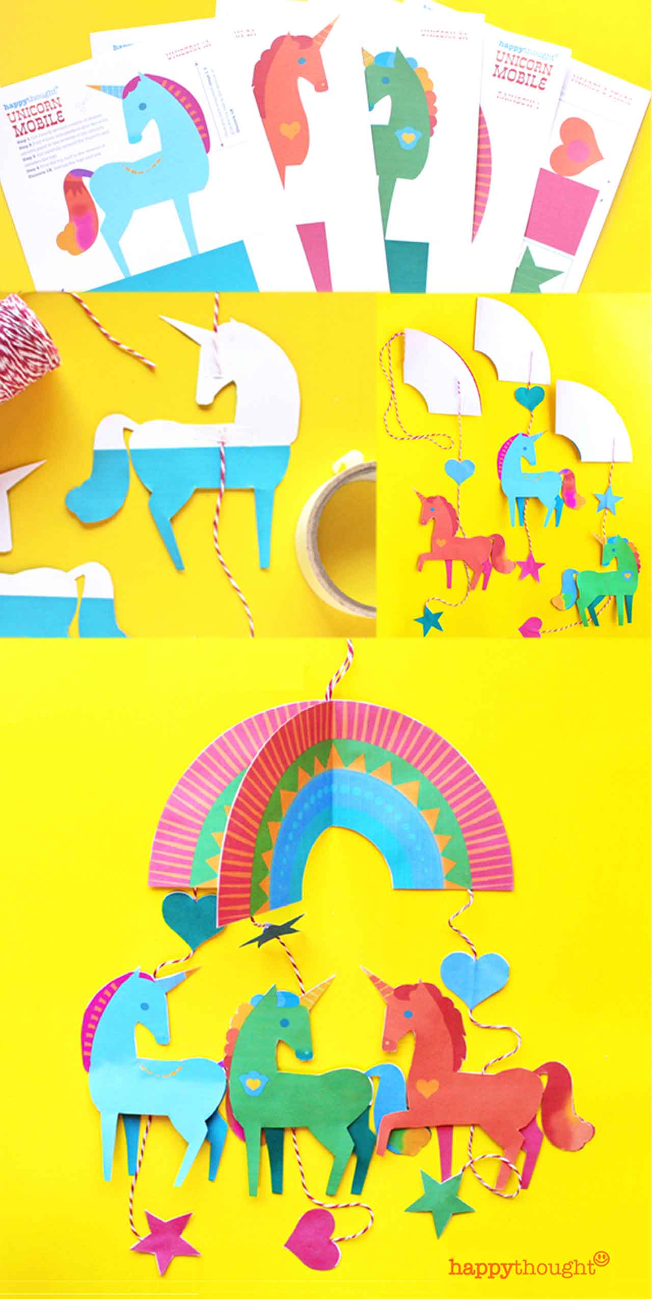 Make a unicorn mobile today! Printable templates