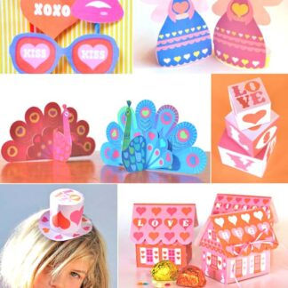 Valentines Day printable craft set: Cards, gift boxes and photo props.