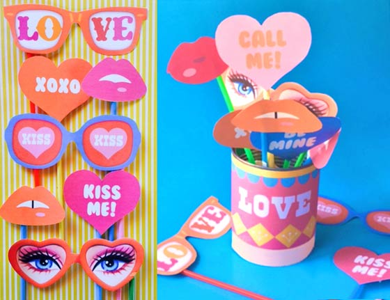 Valentines Day printable photo props and label ideas!