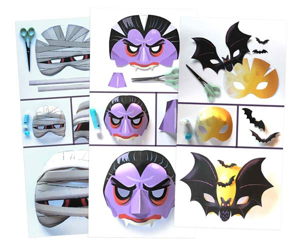 Vampire, Mummy and Bat Halloween party printable costumes!