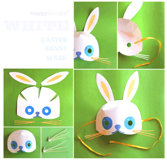 White easter bunny mask template and tutorial