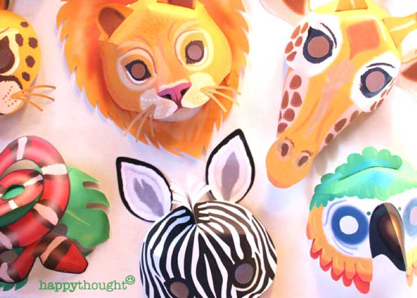 Lion, Hippopotamus, Elephant, Snake, Giraffe, Tiger, Monkey, Leopard, Crocodile and Zebra - Wild animal masks to make play and dress up!